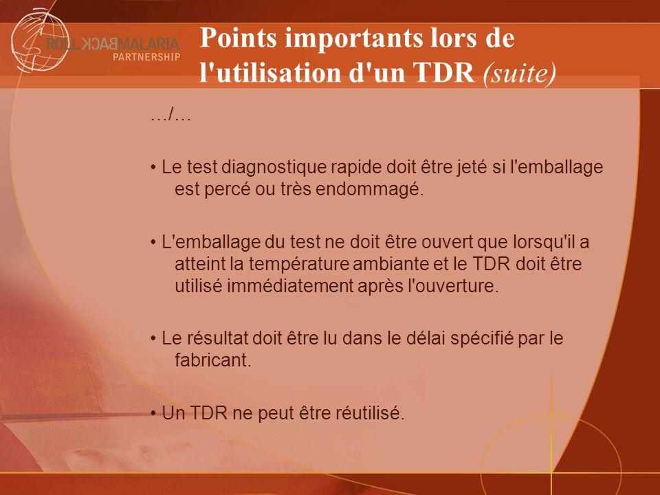 Points importants lors de l utilisation d un TDR (suite)
