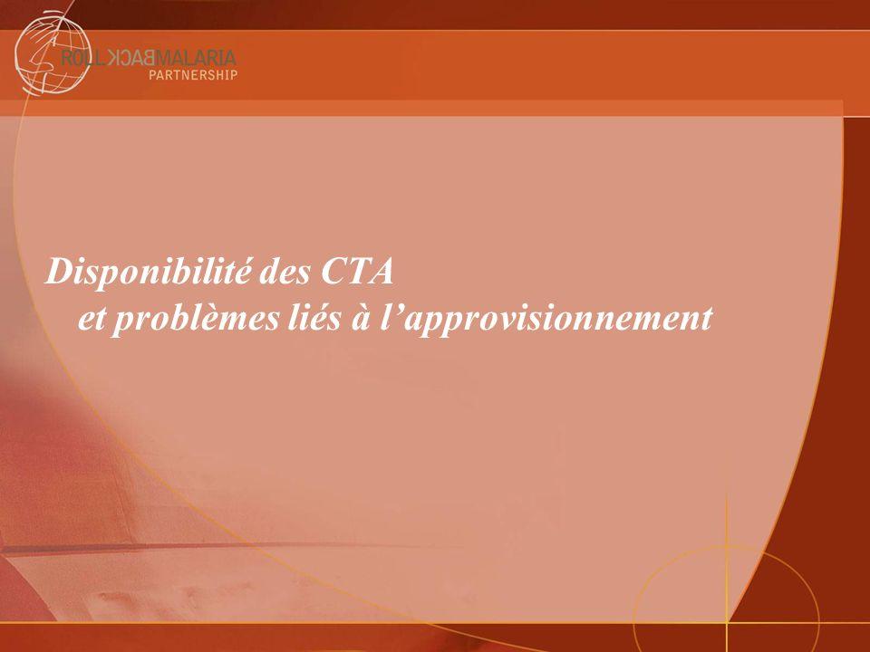 Disponibilité des CTA et problèmes liés à l'approvisionnement