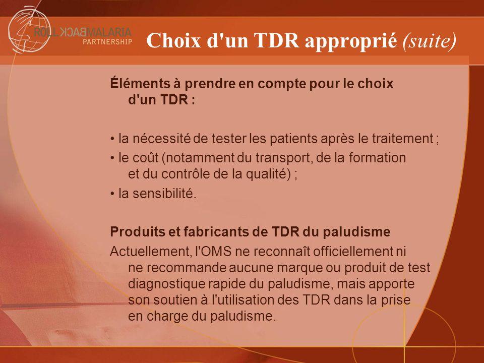 Choix d un TDR approprié (suite)