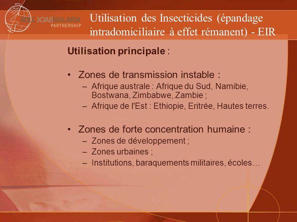 Utilisation des Insecticides (épandage intradomiciliaire à effet rémanent) - EIR