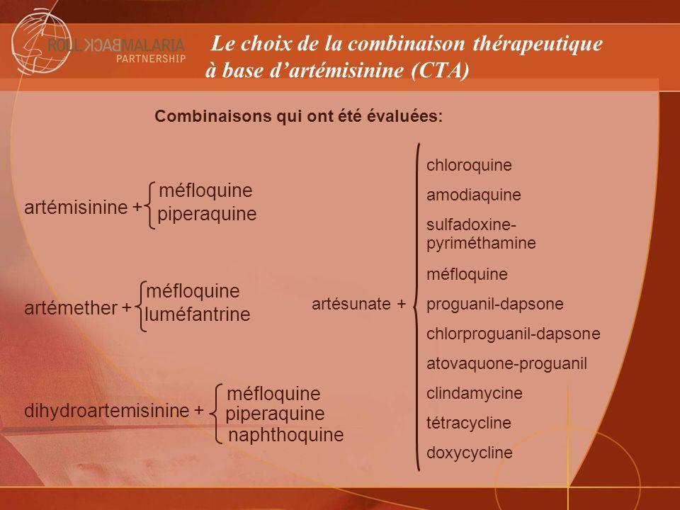 Le choix de la combinaison thérapeutique à base d'artémisinine (CTA)