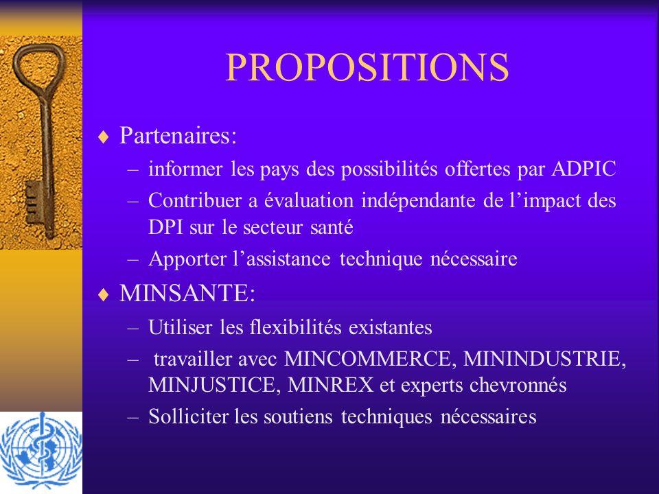PROPOSITIONS Partenaires: MINSANTE: