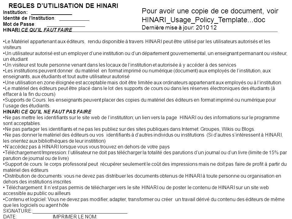 REGLES D'UTILISATION DE HINARI