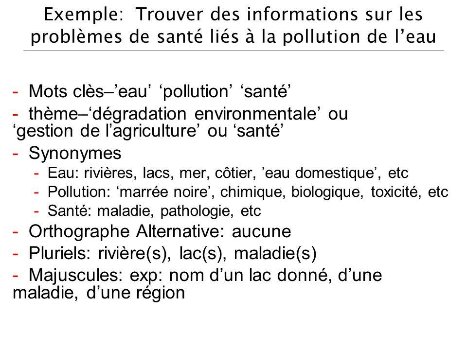 - Mots clès–'eau' 'pollution' 'santé'