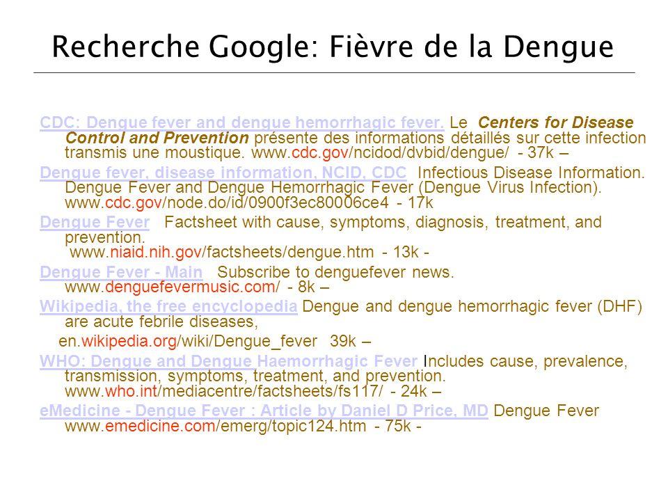 Recherche Google: Fièvre de la Dengue