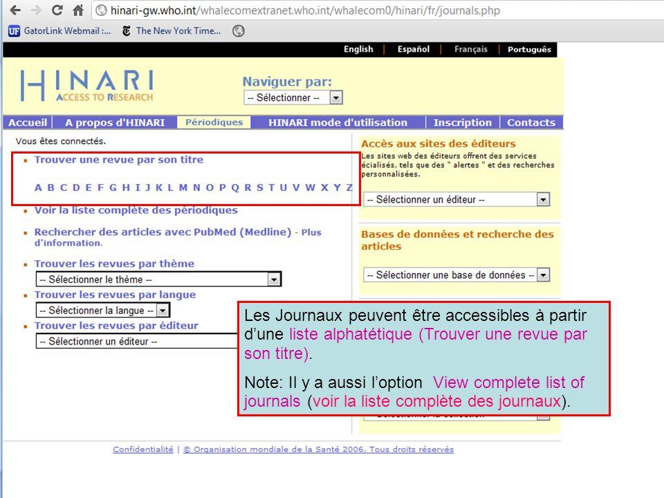 Les Journaux peuvent être accessibles à partir d'une liste alphatétique (Trouver une revue par son titre).