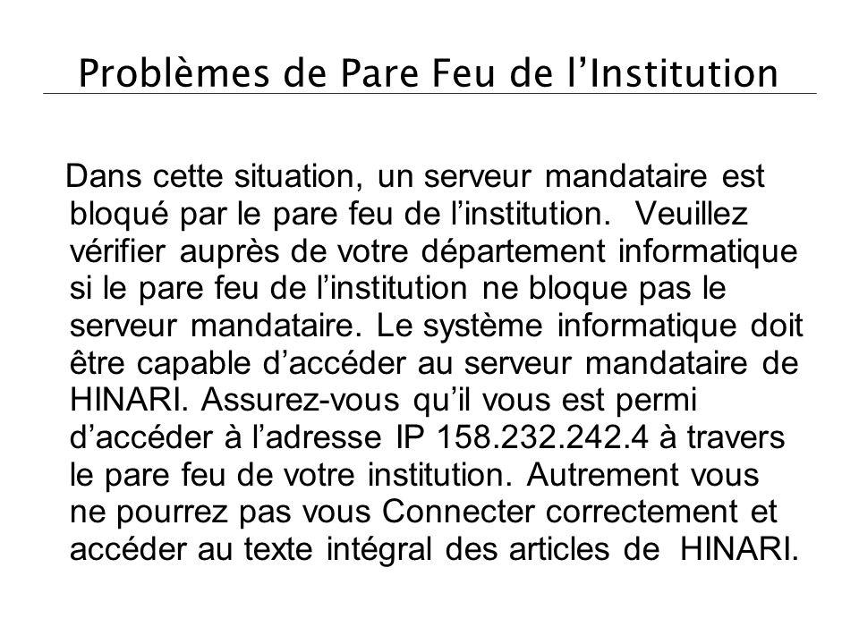 Problèmes de Pare Feu de l'Institution