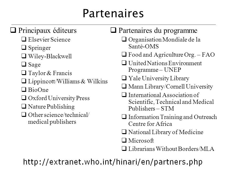 Partenaires Principaux éditeurs Partenaires du programme