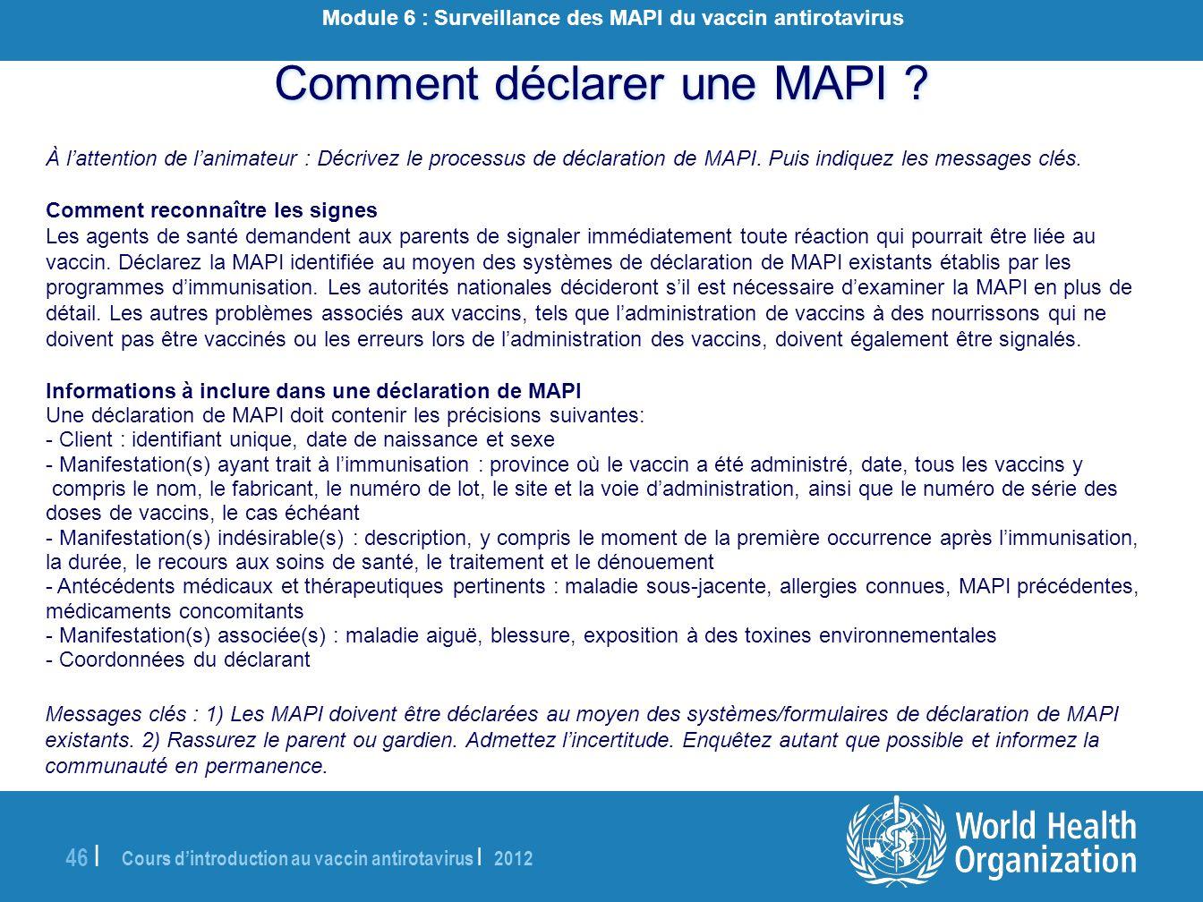 Module 6 : Surveillance des MAPI du vaccin antirotavirus