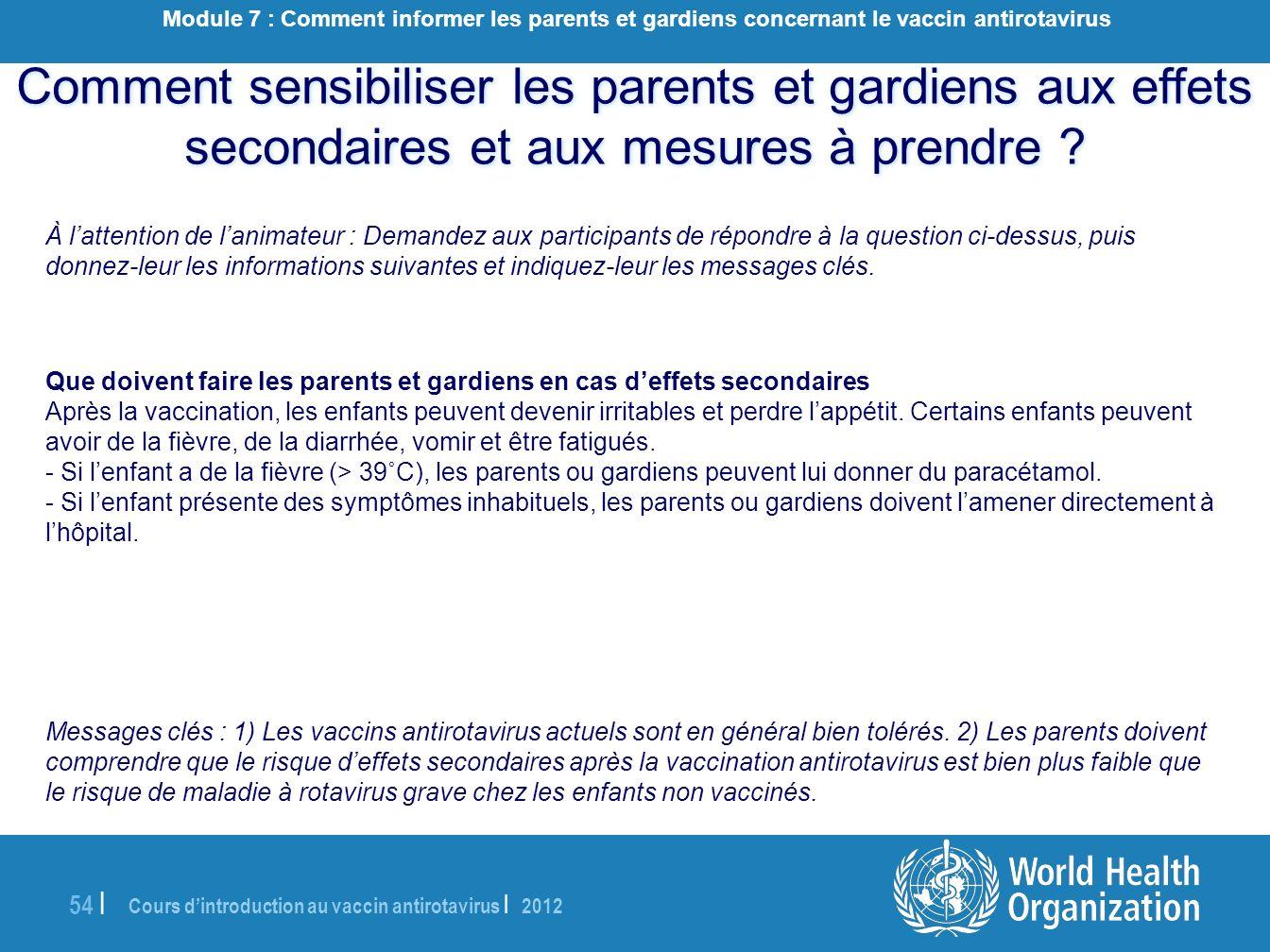 Module 7 : Comment informer les parents et gardiens concernant le vaccin antirotavirus