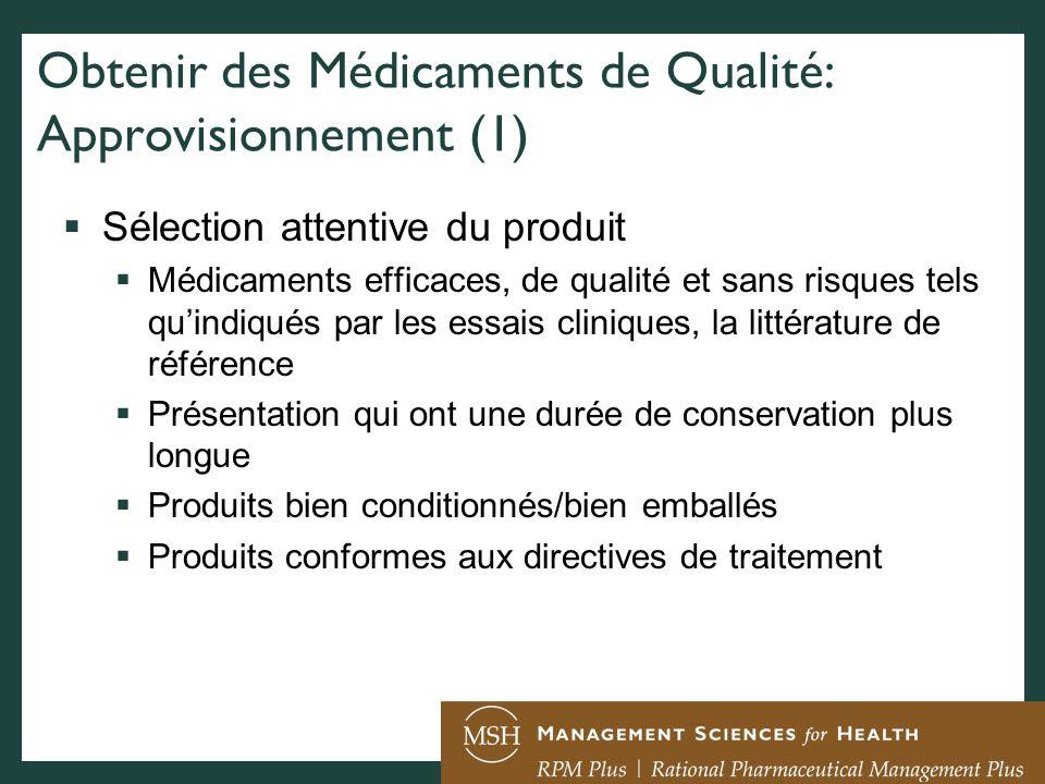 Obtenir des Médicaments de Qualité: Approvisionnement (1)