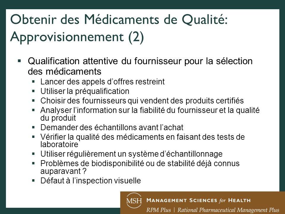 Obtenir des Médicaments de Qualité: Approvisionnement (2)