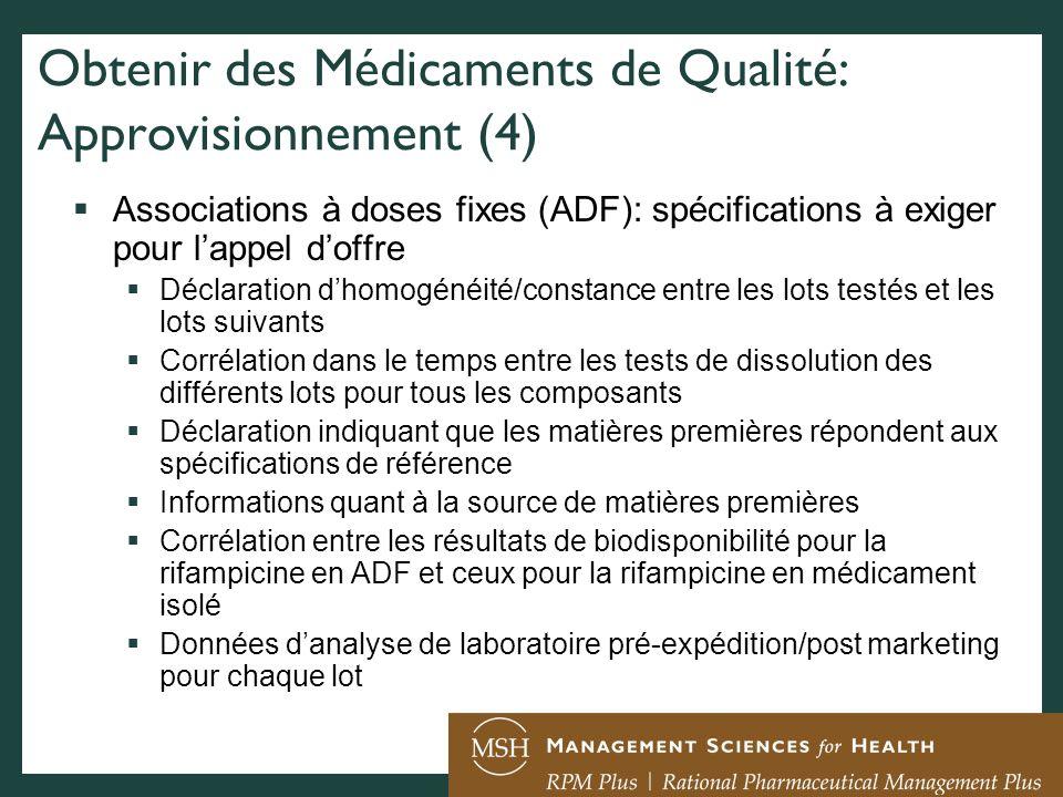 Obtenir des Médicaments de Qualité: Approvisionnement (4)