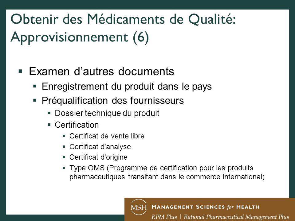 Obtenir des Médicaments de Qualité: Approvisionnement (6)