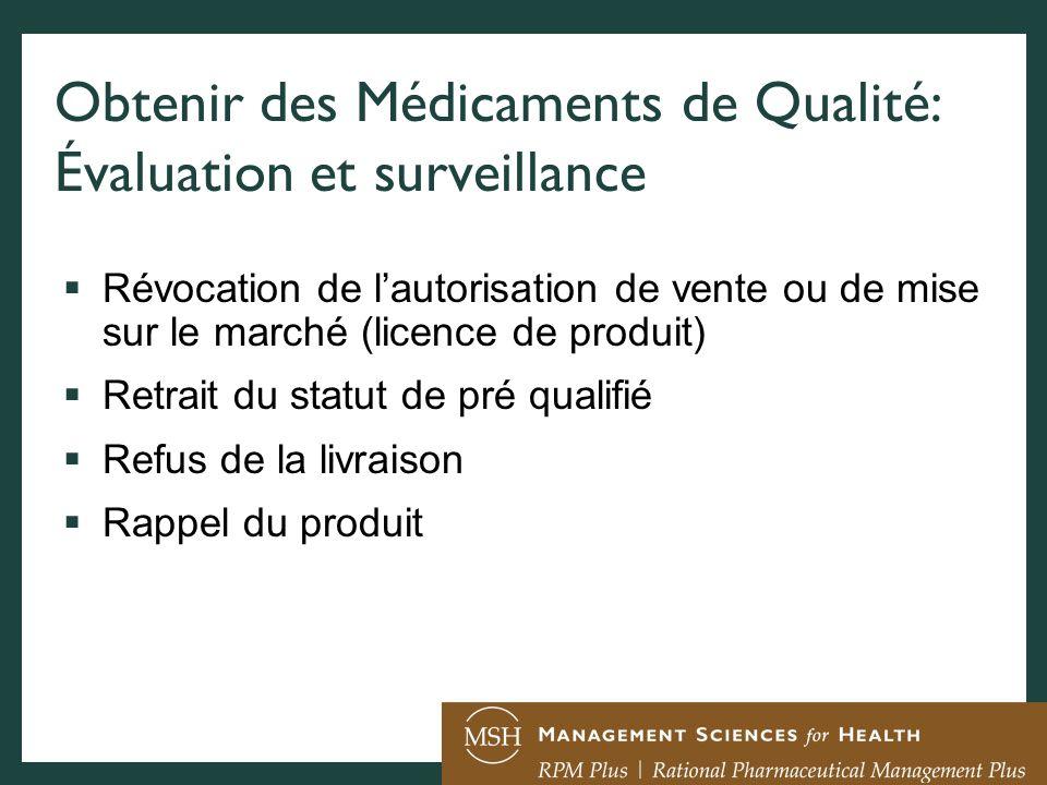 Obtenir des Médicaments de Qualité: Évaluation et surveillance