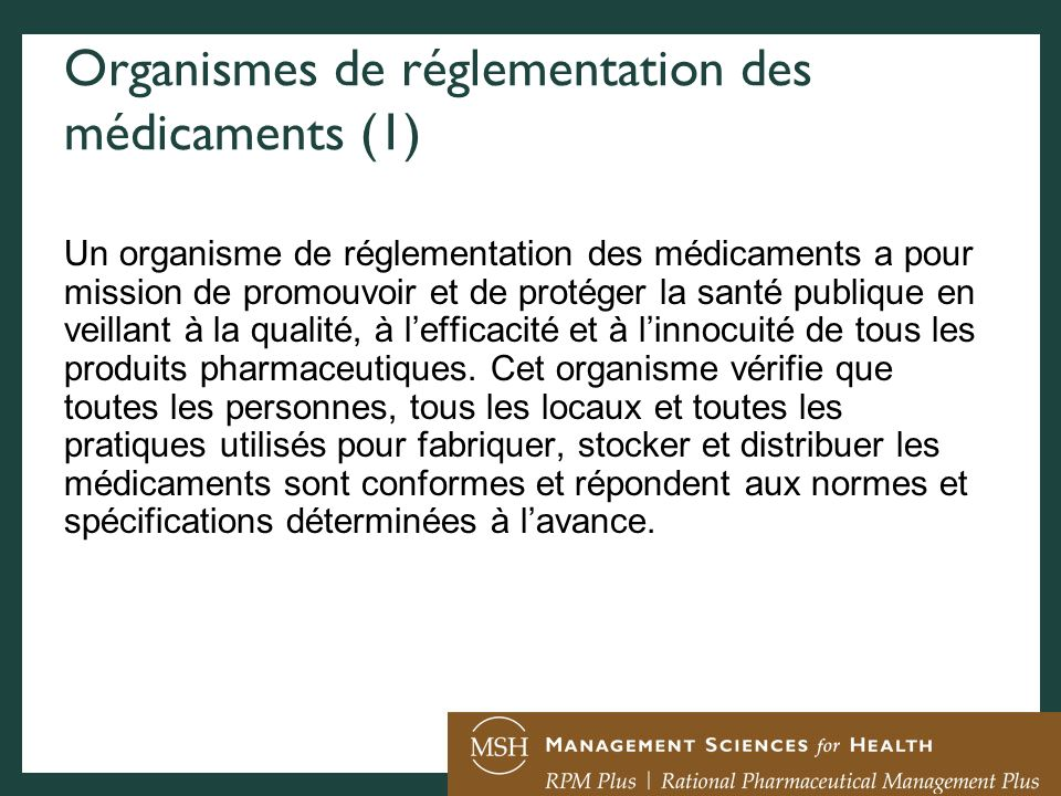 Organismes de réglementation des médicaments (1)