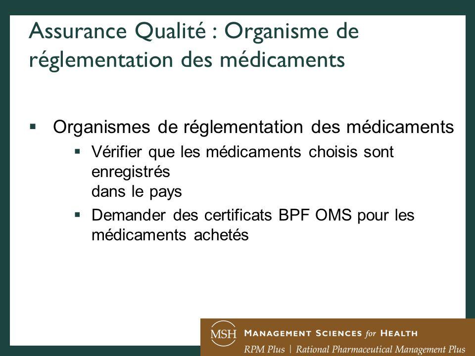 Assurance Qualité : Organisme de réglementation des médicaments