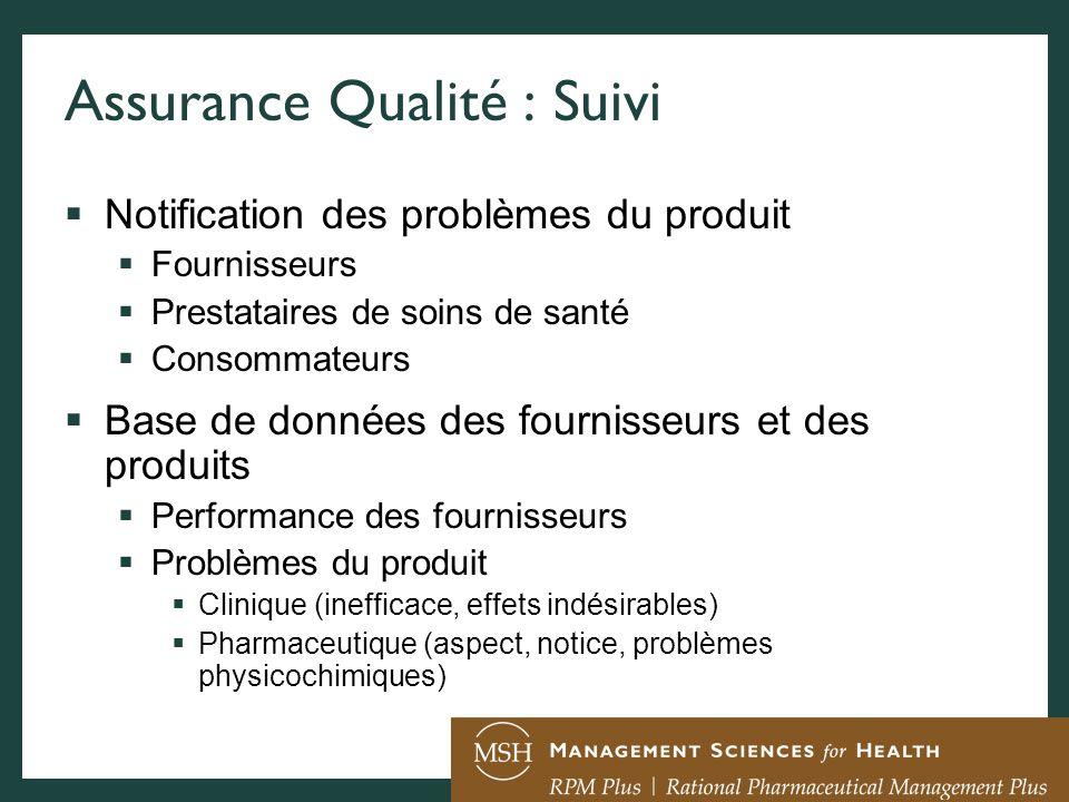 Assurance Qualité : Suivi