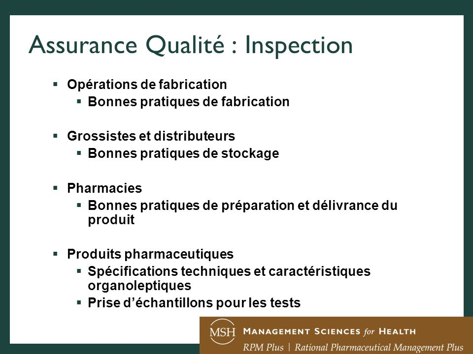 Assurance Qualité : Inspection