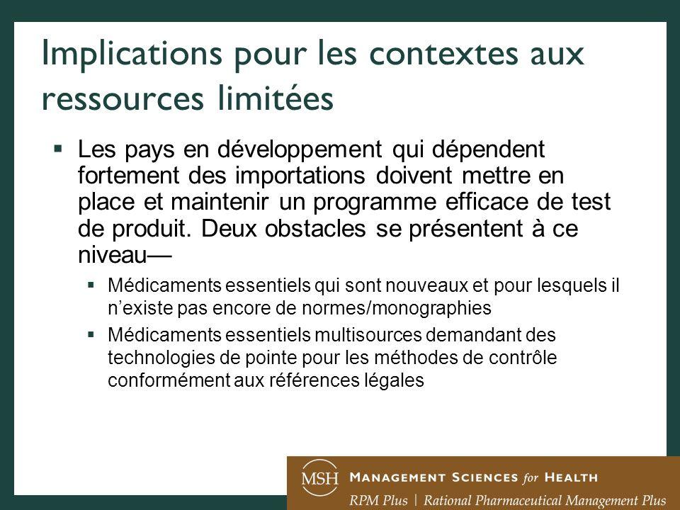 Implications pour les contextes aux ressources limitées