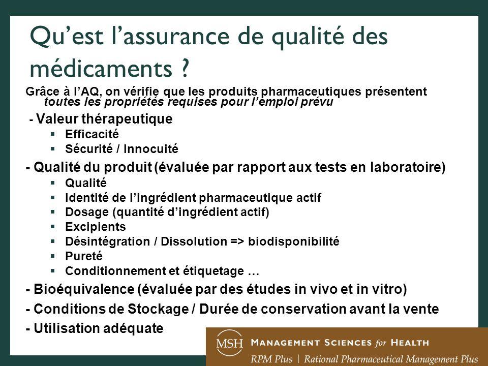 Qu'est l'assurance de qualité des médicaments