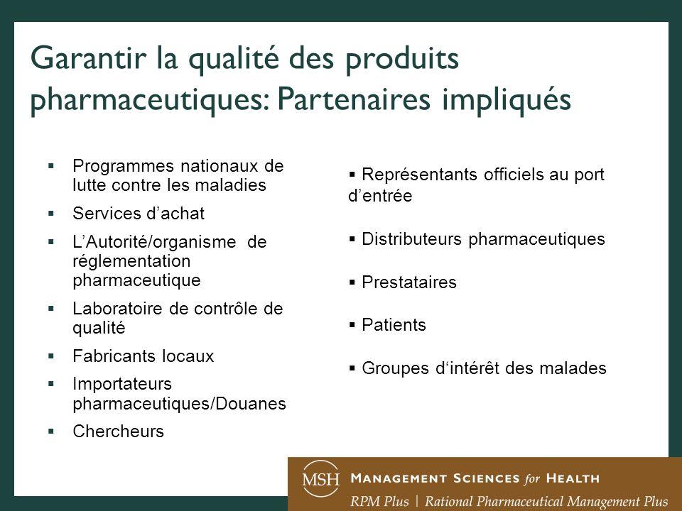 Garantir la qualité des produits pharmaceutiques: Partenaires impliqués