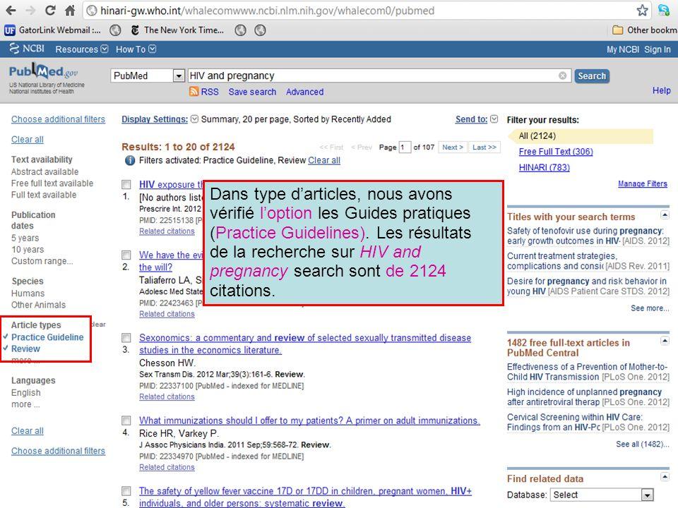 Dans type d'articles, nous avons vérifié l'option les Guides pratiques (Practice Guidelines).