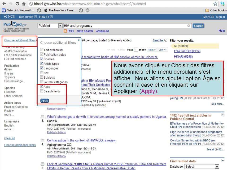 Nous avons cliqué sur Choisir des filtres additionnels et le menu déroulant s'est affiché.