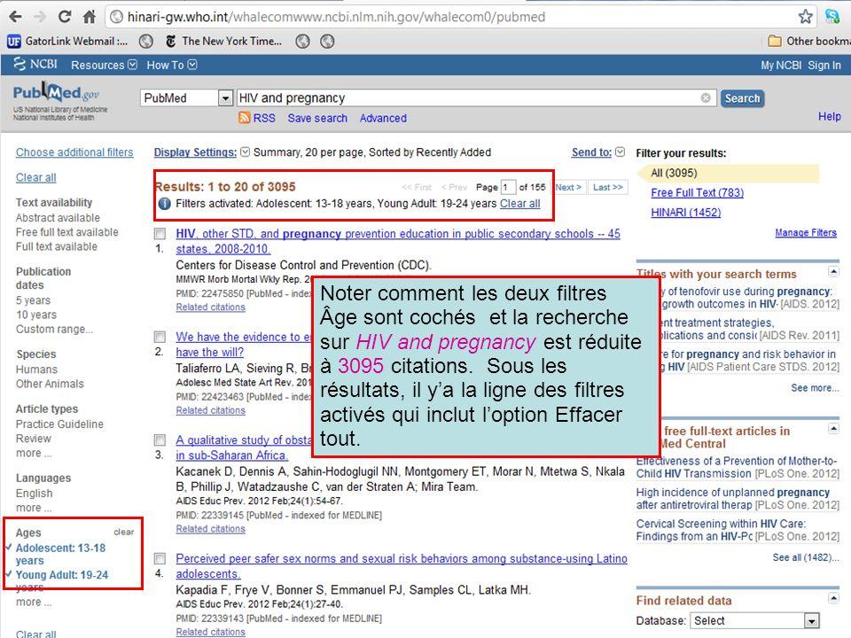 Noter comment les deux filtres Âge sont cochés et la recherche sur HIV and pregnancy est réduite à 3095 citations.
