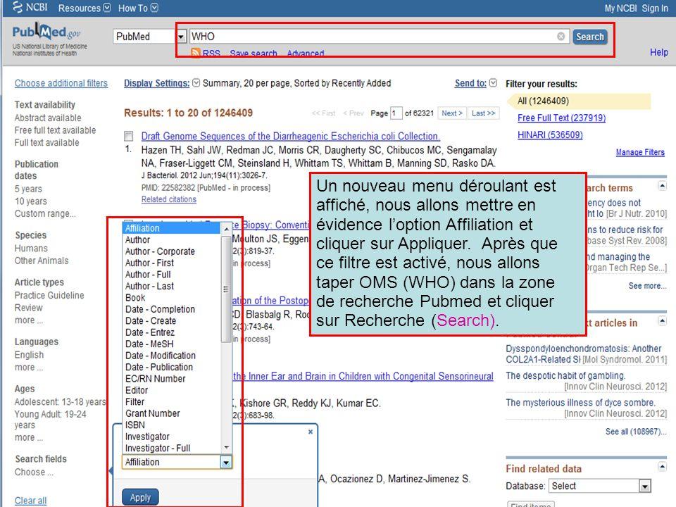 Un nouveau menu déroulant est affiché, nous allons mettre en évidence l'option Affiliation et cliquer sur Appliquer.