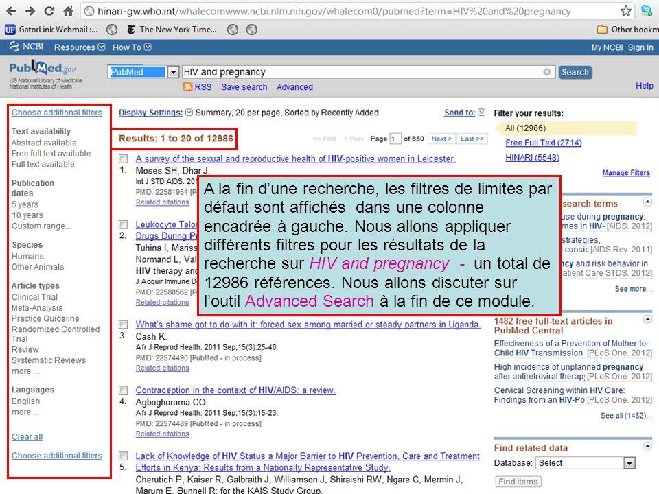 A la fin d'une recherche, les filtres de limites par défaut sont affichés dans une colonne encadrée à gauche.