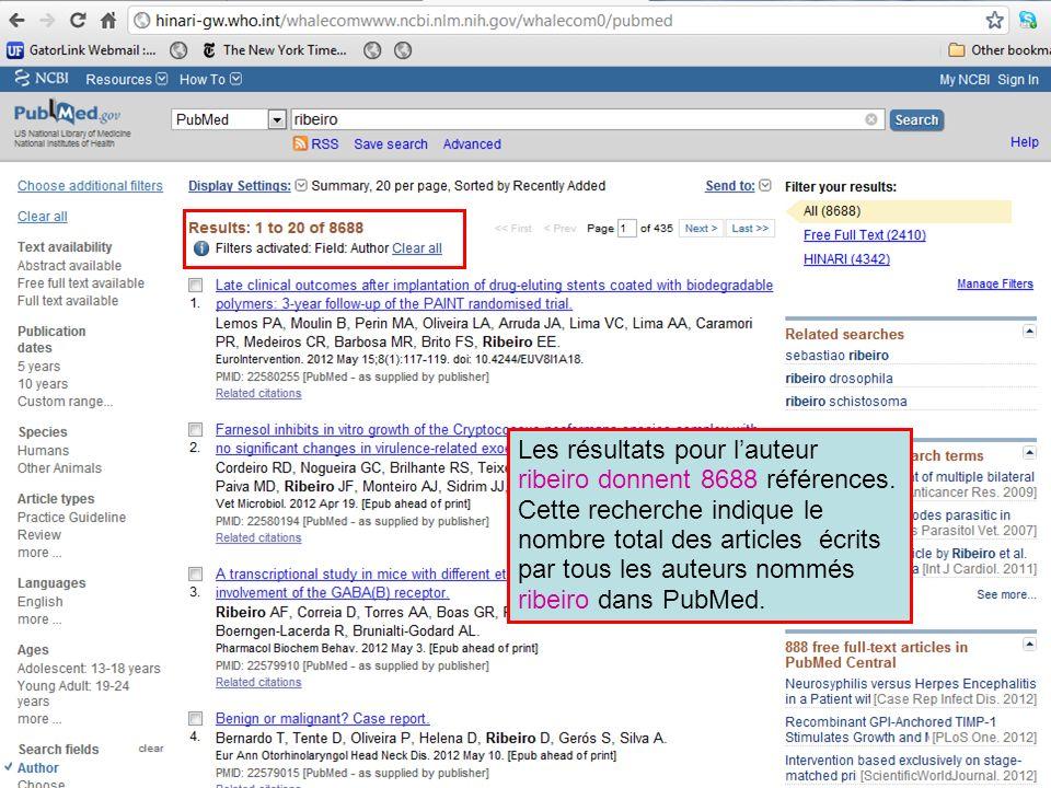 Les résultats pour l'auteur ribeiro donnent 8688 références