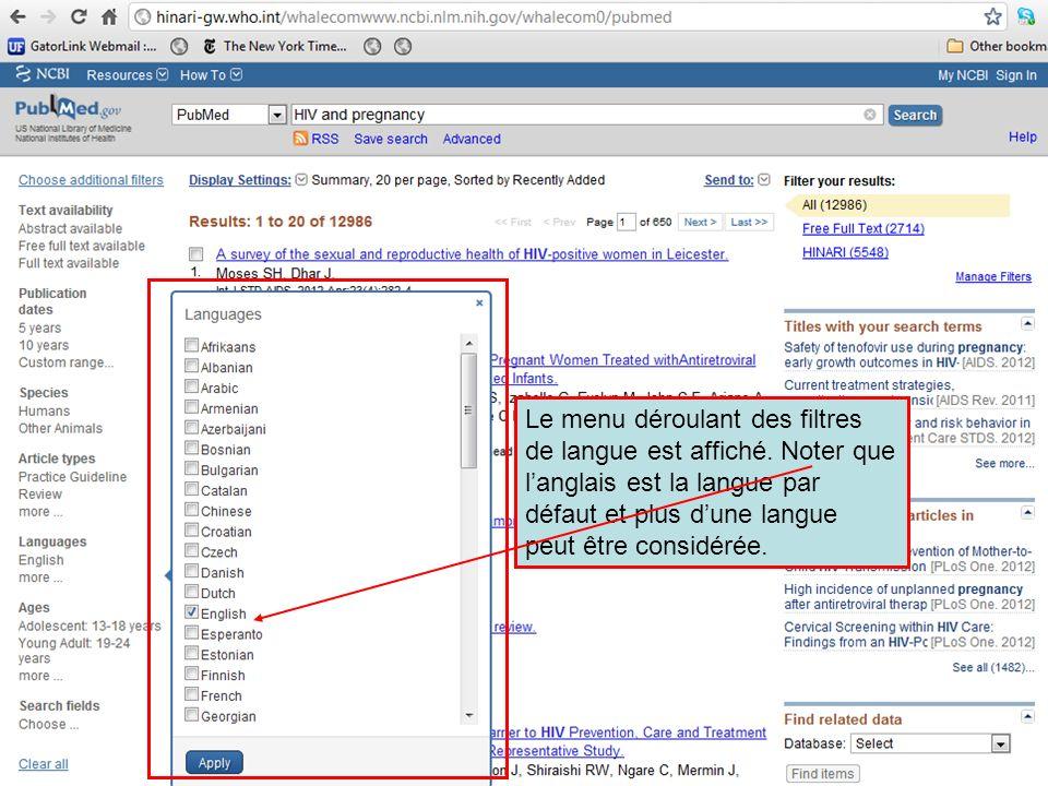 Le menu déroulant des filtres de langue est affiché