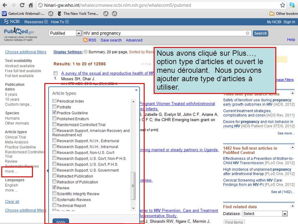 Nous avons cliqué sur Plus…, option type d'articles et ouvert le menu déroulant.