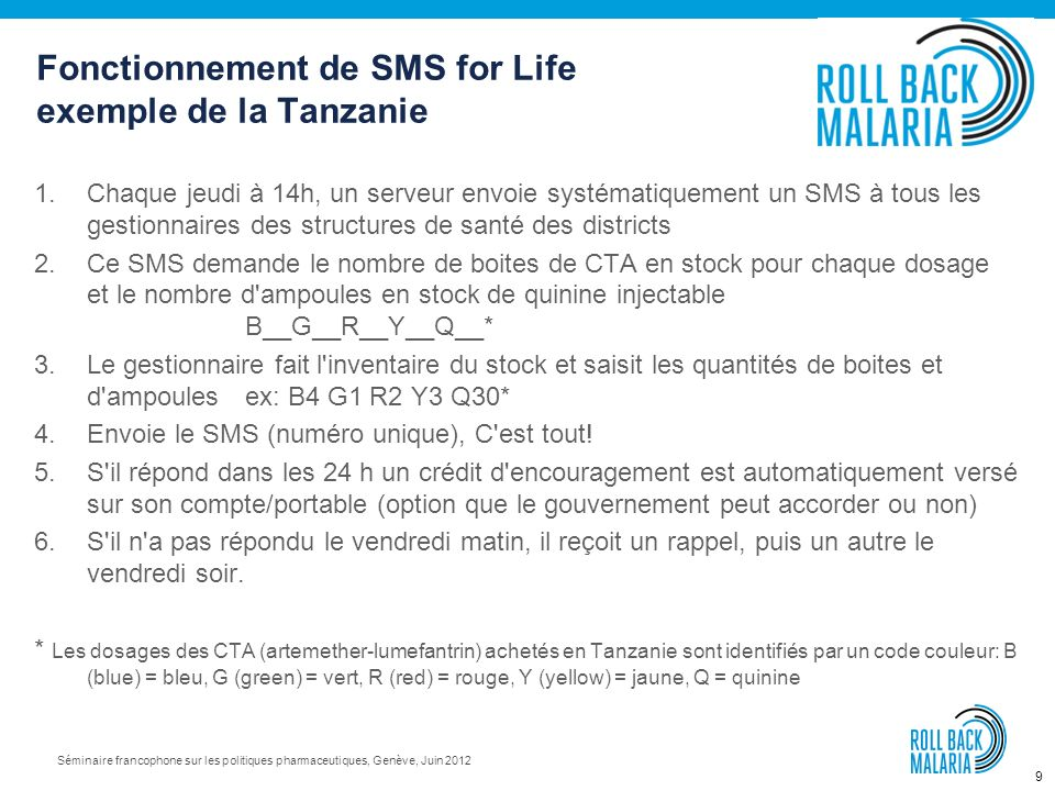 Fonctionnement de SMS for Life exemple de la Tanzanie