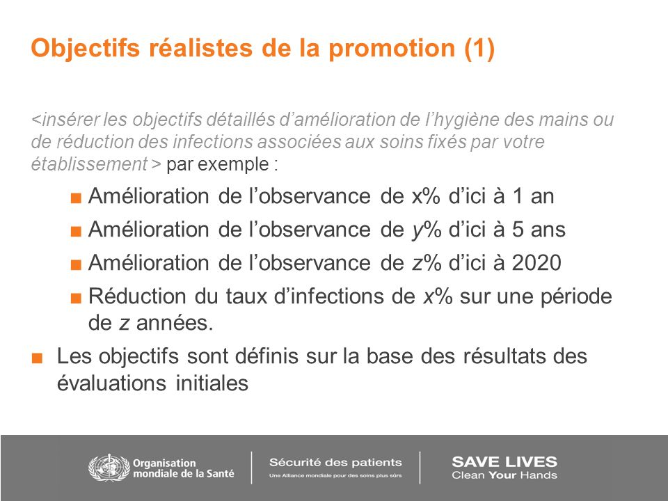 Objectifs réalistes de la promotion (1)