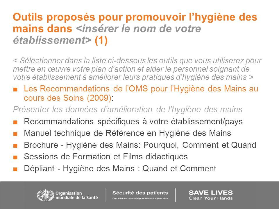 Outils proposés pour promouvoir l'hygiène des mains dans <insérer le nom de votre établissement> (1)