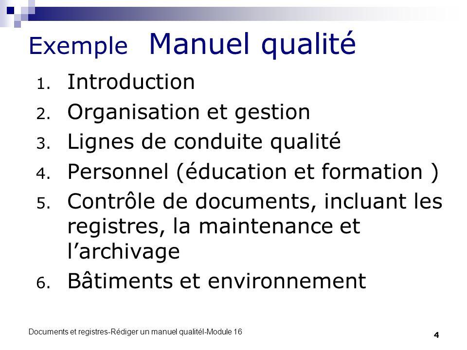 Exemple Manuel qualité