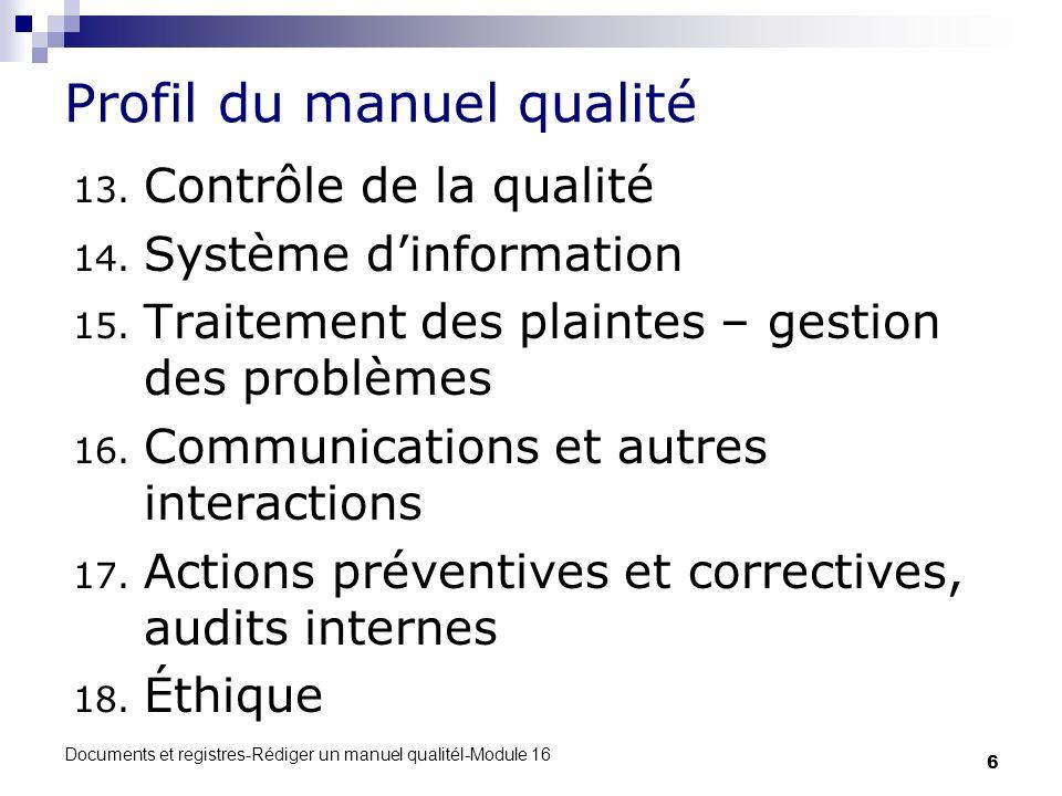 Profil du manuel qualité