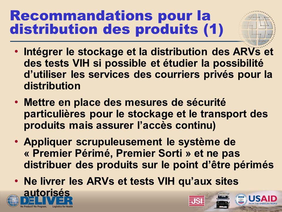 Recommandations pour la distribution des produits (1)
