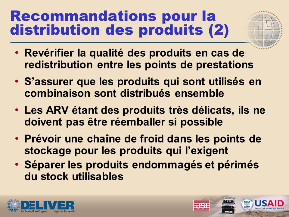 Recommandations pour la distribution des produits (2)