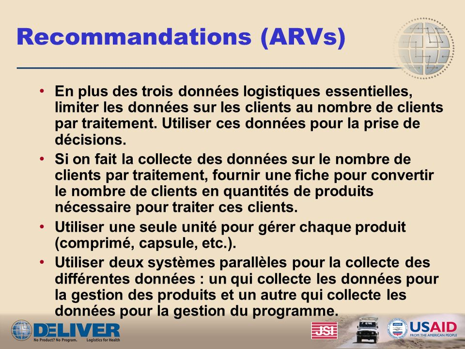 Recommandations (ARVs)