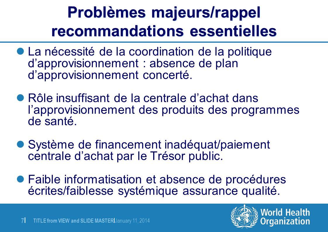 Problèmes majeurs/rappel recommandations essentielles