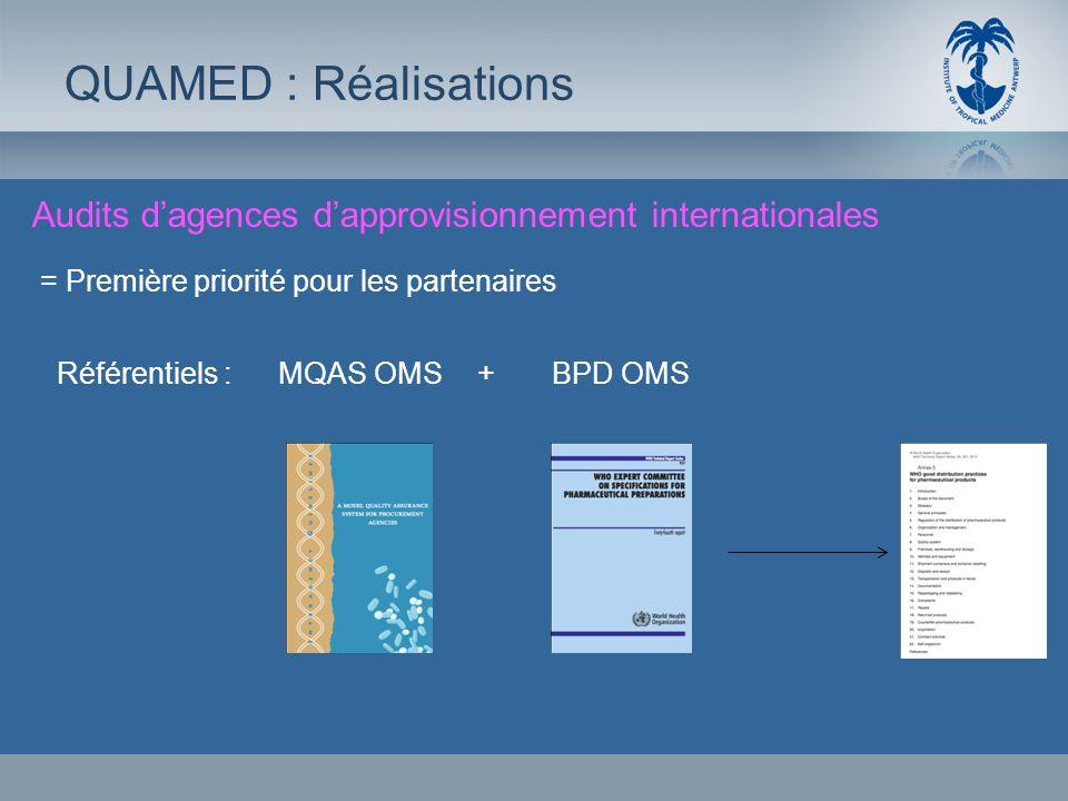 QUAMED : RéalisationsAudits d'agences d'approvisionnement internationales. = Première priorité pour les partenaires.