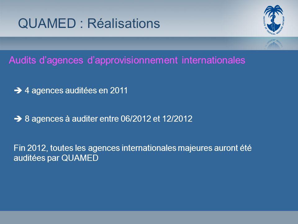 QUAMED : RéalisationsAudits d'agences d'approvisionnement internationales.  4 agences auditées en 2011.