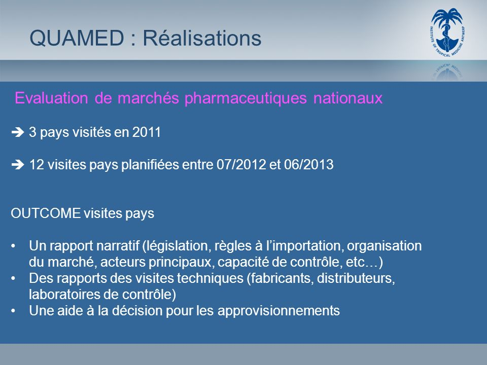 QUAMED : Réalisations Evaluation de marchés pharmaceutiques nationaux