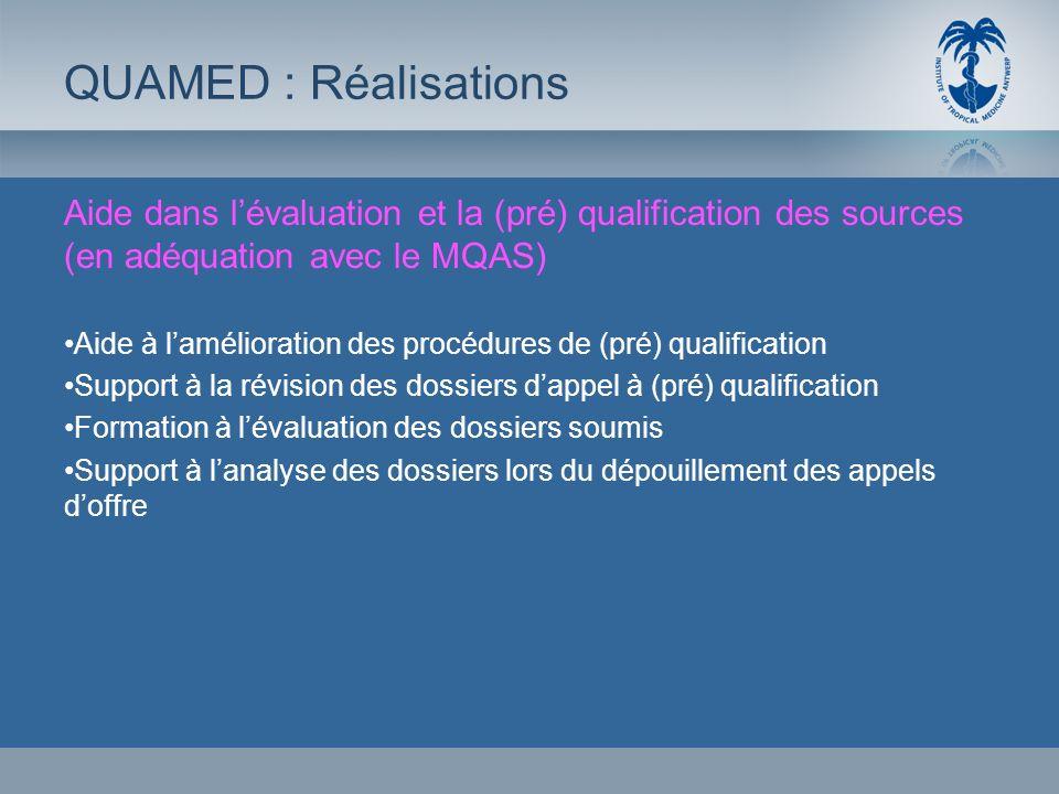 QUAMED : RéalisationsAide dans l'évaluation et la (pré) qualification des sources (en adéquation avec le MQAS)
