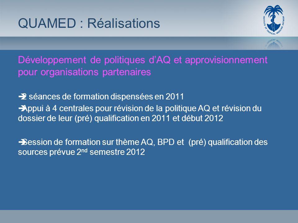 QUAMED : RéalisationsDéveloppement de politiques d'AQ et approvisionnement pour organisations partenaires.