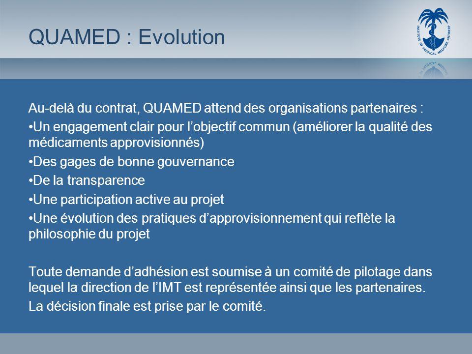 QUAMED : EvolutionAu-delà du contrat, QUAMED attend des organisations partenaires :