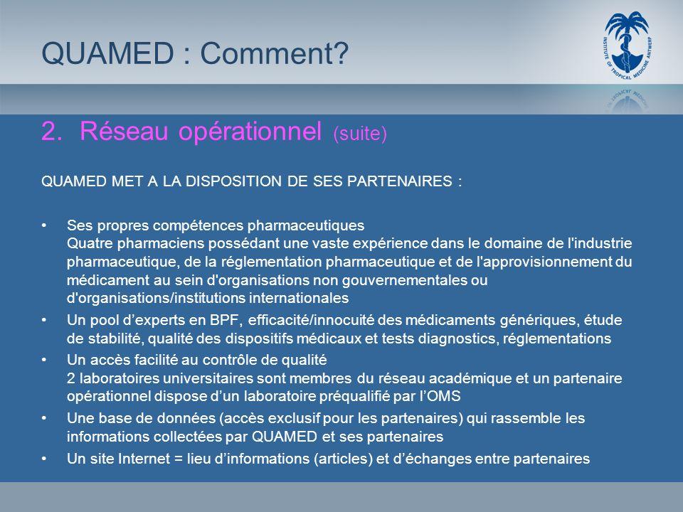 QUAMED : Comment Réseau opérationnel (suite)